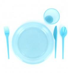 Colher de Plastico Grande Azul PS 165 mm (15 Uds)
