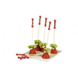 Pick Bambú Decorado Vermelho 120mm (100 Unidades)