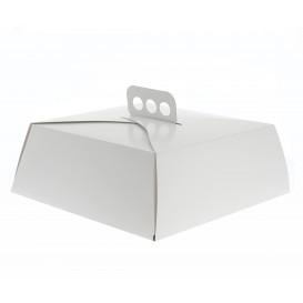 Caixa Cartolina Bolo Quadrada Branca 24,5x24,5x10 cm (50 Uds)