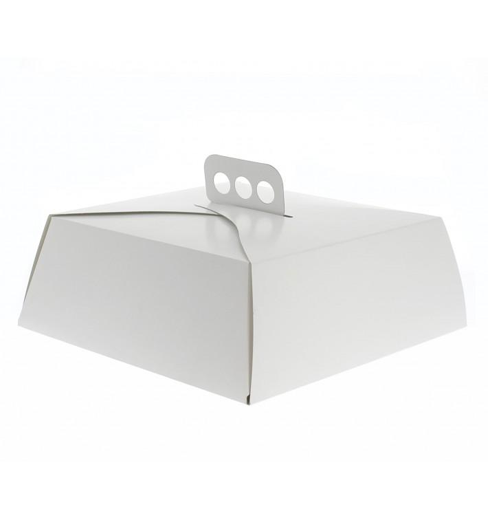 Caixa Cartolina Bolo Quadrada Branca 34,5x34,5x10 cm (50 Uds)