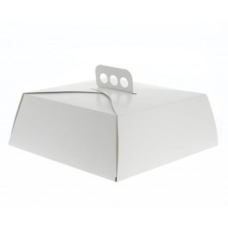 Caixa Cartolina Bolo Quadrada Branca 27x27x10cm (5 Uds)