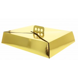 Caixa Cartolina Bolo Quadrada Ouro 26,5x35,5x8 cm (50 Uds)