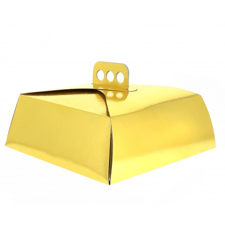 Caixa Cartolina Bolo Quadrada Ouro 27x27x10cm(50 Uds)