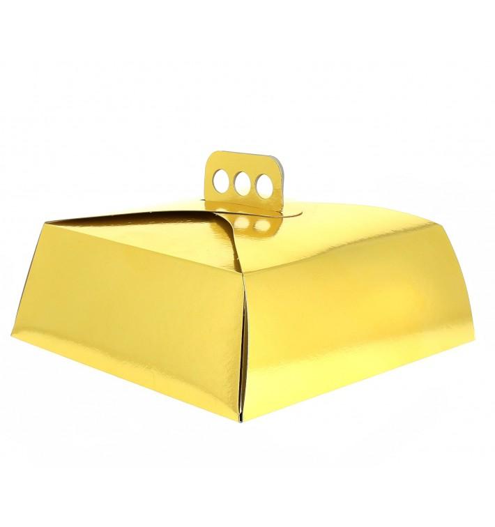 Caixa Cartolina Bolo Quadrada Ouro 34,5x34,5x10 cm (50 Uds)