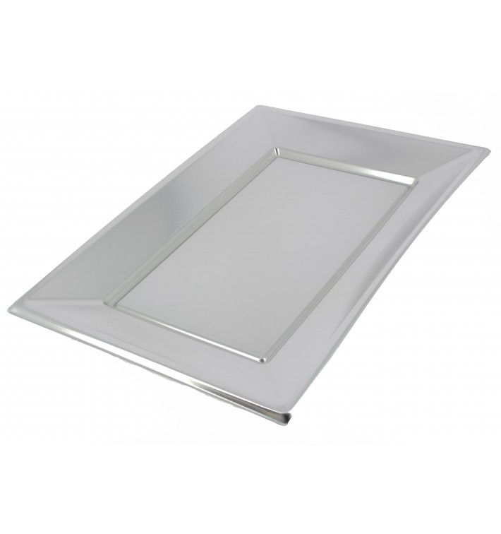 Bandeja de Plastico Rectangular Prata 330x225 mm (180 Uds)