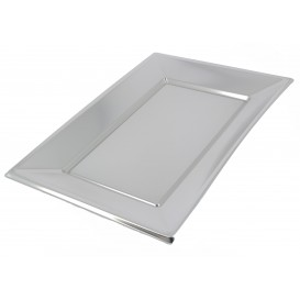 Bandeja Plastico Rectangular Prata 330x225mm (60 Uds)