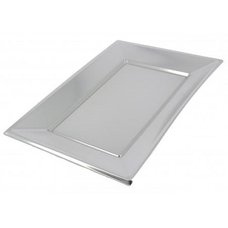 Bandeja Plastico Rectangular Prata 330x230mm (2 Uds)
