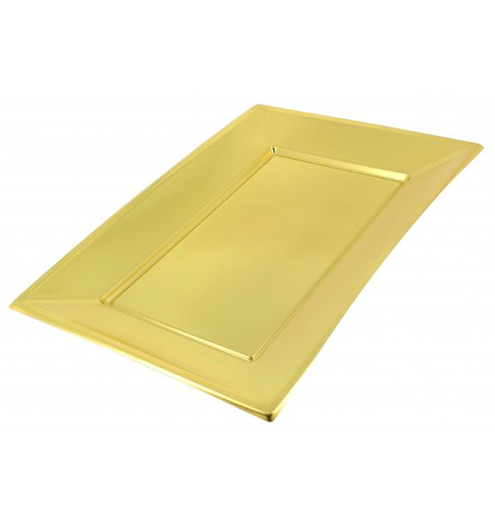 Bandeja Plastico Rectangular Ouro 330x225 mm (60 Uds)
