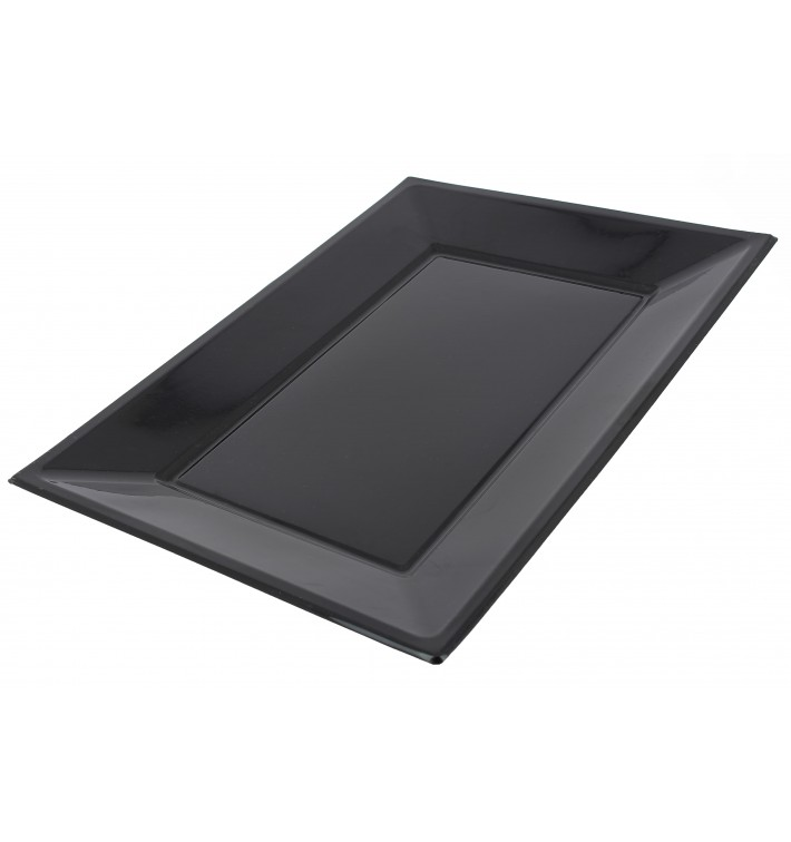 Bandeja Plástico Rectangular Preto 330x225mm (3 Uds)