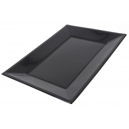 Bandeja Plastico Rectangular Preto 330x225mm (3 Uds)