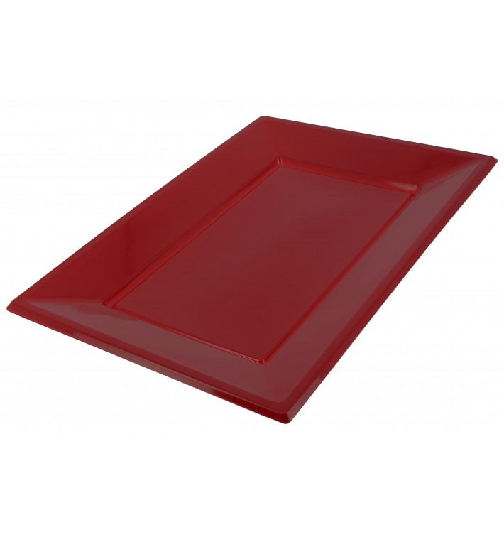 Bandeja Plastico Rectangular Bordeaux 330x225mm (180 Uds)