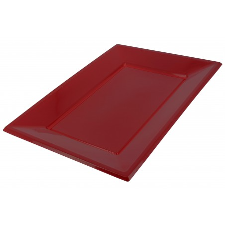 Bandeja Plastico Rectangular Bordeaux 330x225mm (90 Uds)
