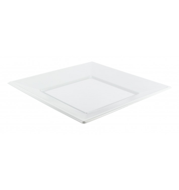 Prato Plastico Raso Quadrado Branco 230mm (750 Uds)
