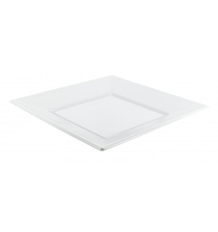 Prato Plástico Raso Quadrado Branco 170mm (25 Uds)
