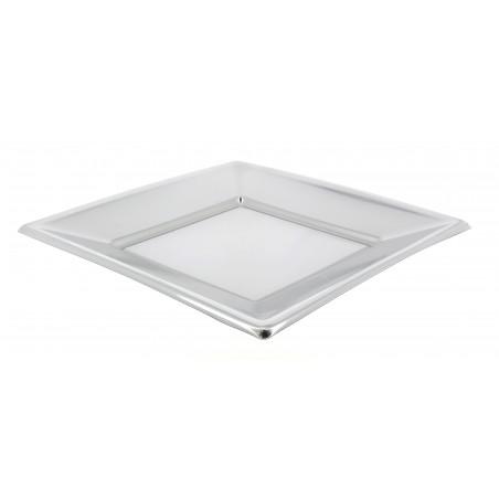 Prato Raso Quadrado de Plastico Prata 180mm (25 Uds)
