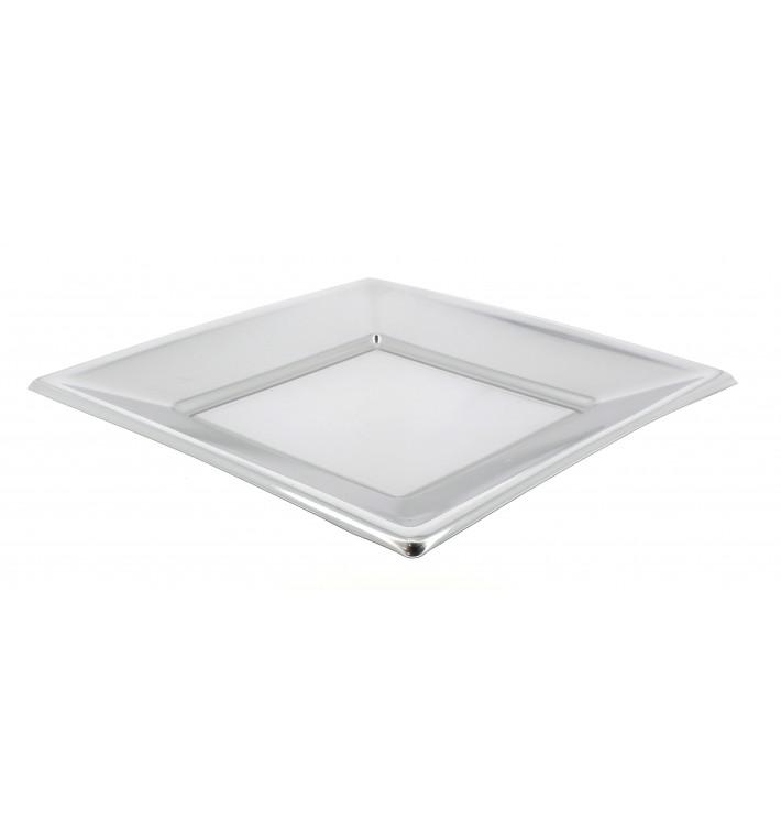 Prato Raso Quadrado de Plástico Prata 230mm (750 Uds)