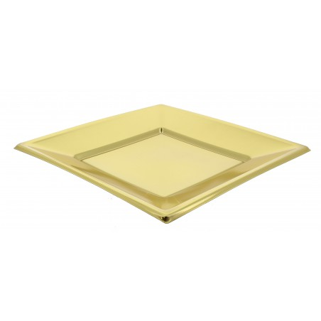 Prato Raso Quadrado de Plastico Ouro 180mm (150 Uds)