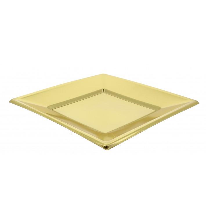 Prato Plástico Raso Quadrado Ouro 230mm (3 Uds)