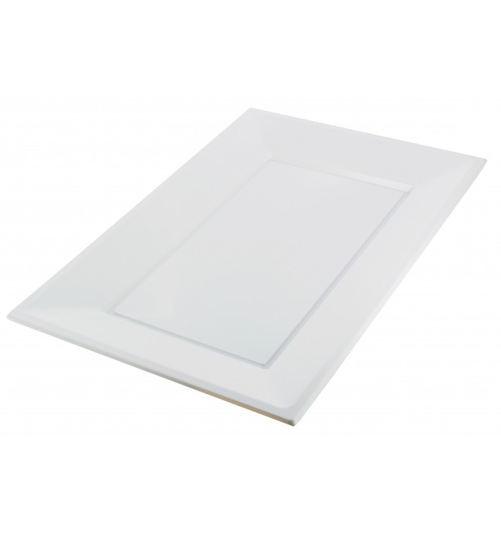 Bandeja Plastico Rectangular Branco 330x225mm (180 Uds)