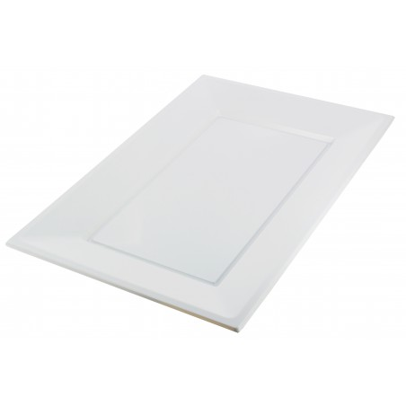 Bandeja Plastico Rectangular Branco 330x225mm (90 Uds)