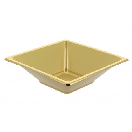 Tigela Plastico Quadrada Ouro 120x120x40mm (5 Uds)
