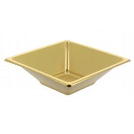 Tigela de Plastico PS Quadrada Ouro 12x12cm (300 Uds)