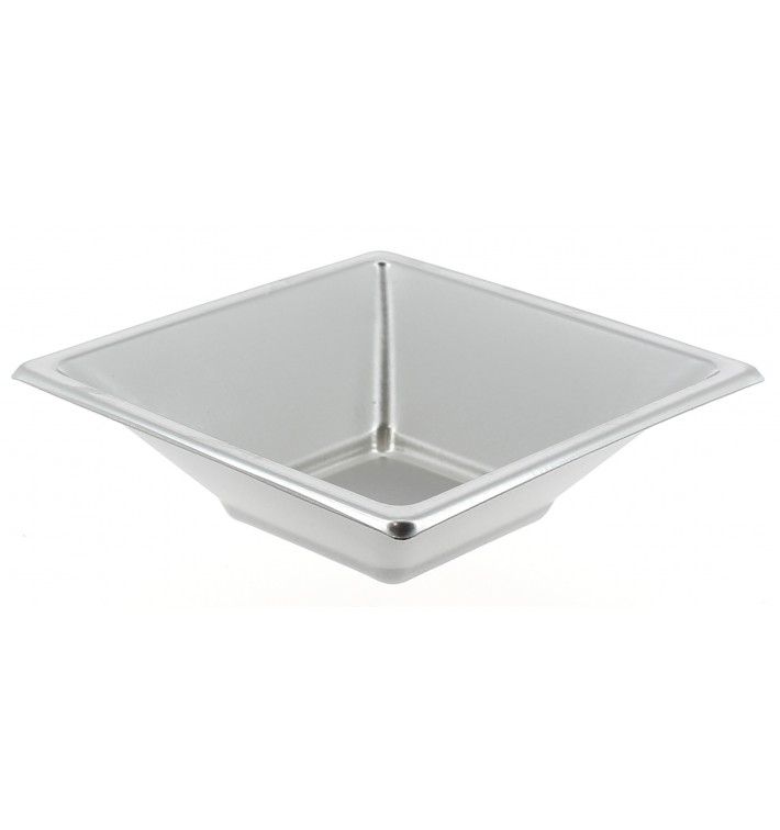 Tigela de Plastico PS Quadrada Prata 12x12cm (300 Uds)