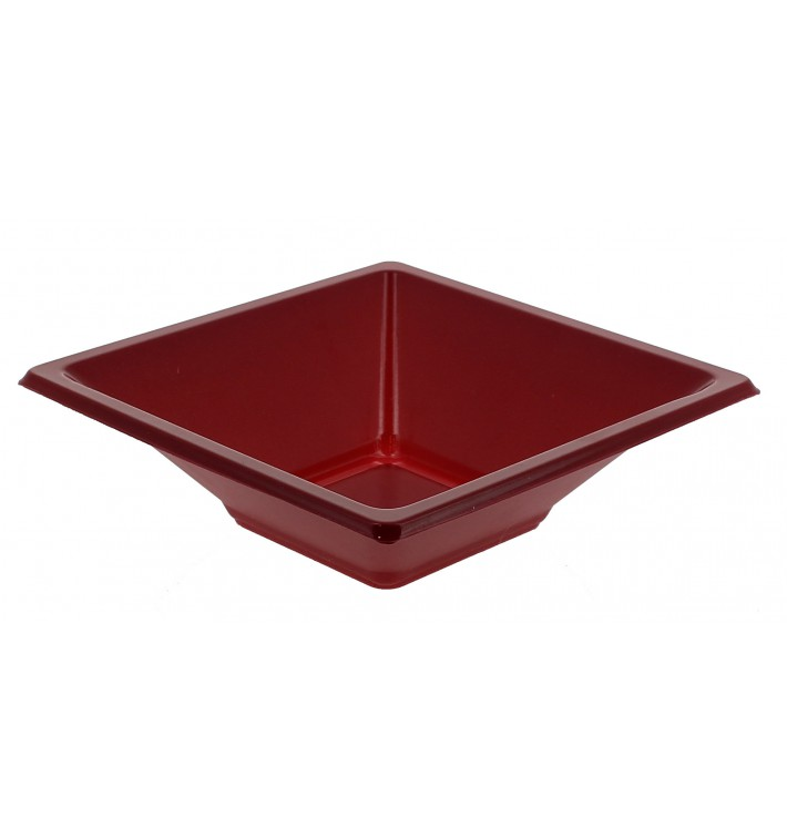 Tigela de Plastico PS Quadrada Bordeaux 12x12cm (25 Uds)