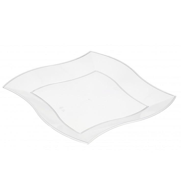 Prato Plástico Ondas Quadrado Ondas Branco 230mm (5 Uds)