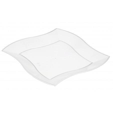 Prato Plastico Ondas Quadrado Ondas Branco 230mm (5 Uds)