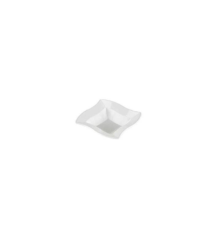 """Tigela Plastico Quadrada """"Ondas"""" Branco 18x18cm (6 Uds)"""