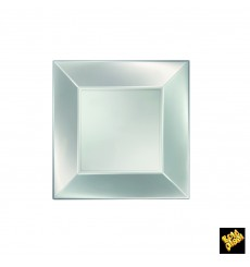 Prato Plastico Raso Prata Nice Pearl PP 180mm (300 Uds)