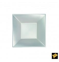 Prato Plastico Fundo Prata Nice Pearl PP 180mm (300 Uds)