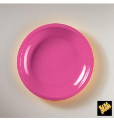 Prato Plastico Raso Fucsia Round PP Ø220mm (50 Uds)