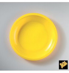 Prato Plastico Raso Amarelo Round PP Ø220mm (600 Uds)