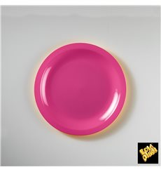 Prato Plastico Raso Fucsia Round PP Ø185mm (50 Uds)