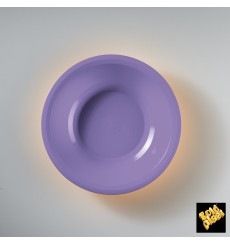 Prato de Plastico Fundo Lilás Round PP Ø195mm (50 Uds)