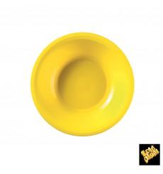 Prato de Plastico Fundo Amarelo Round PP Ø195mm (50 Uds)