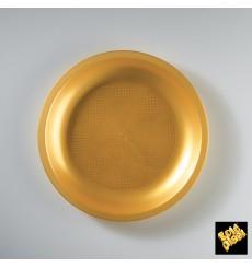 Prato Plastico Raso Ouro Round PP Ø220mm (25 Uds)