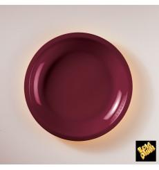 Prato Plastico Raso Bordeaux Round PP Ø220mm (50 Uds)