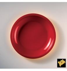 Prato Plastico Raso Vermelho Round PP Ø220mm (600 Uds)