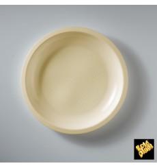 Prato Plastico Raso Creme Round PP Ø220mm (50 Uds)