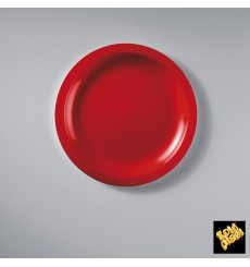 Prato Plastico Raso Vermelho Round PP Ø185mm (600 Uds)