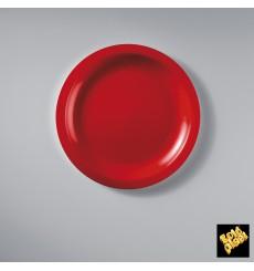 Prato Plastico Raso Vermelho Round PP Ø185mm (50 Uds)