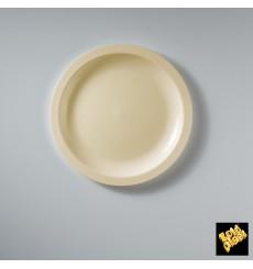 Prato Plastico Raso Creme Round PP Ø185mm (600 Uds)