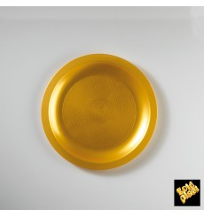 Prato Plastico Raso Ouro Round PP Ø185mm (25 Uds)