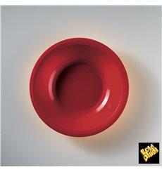 Prato de Plastico Fundo Vermelho Round PP Ø195mm (50 Uds)