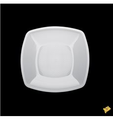 Prato Plastico Raso Quadrado Branco Square PP 230mm (25 Uds)
