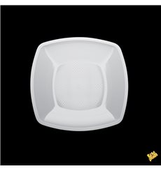 Prato Plastico Raso Quadrado Branco Square PP 180mm (300 Uds)