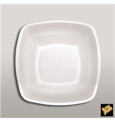 Prato Plastico Fundo Branco Square PP 180mm (25 Uds)